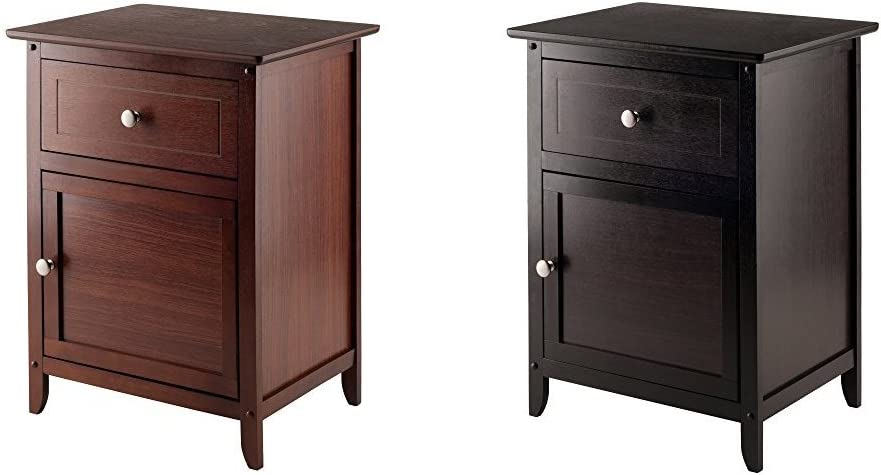 Winsome Wood Night Stand/ Accent Table with Drawer and Cabinet for Storage, Antique Walnut + Winsome Wood Beechwood End/Accent Table, Espresso_Bundle
