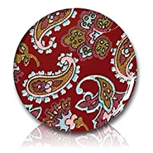 """Custom & Novelty {1"""" Inch} 1 Single Piece, Small Size Button Pin-Back Badge for Unique Clothing Accents, Made of Rust-Proof Metal w/ Retro Sixties Hippie Psychedelic Paisley Pattern Style [Red, Yellow, Black, Blue, & Pink]"""