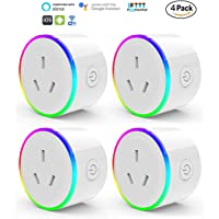 HomePro WIFI Smart Plug with RGB Light, Wireless Power Outlet Compatible with Amazon Alexa, Google Home Assistant and IFTTT, No Hub Needed, Wireless and Remote Control via App to Turn Your Devices On and Off Anywhere With Synchronization Function (4 Pack)