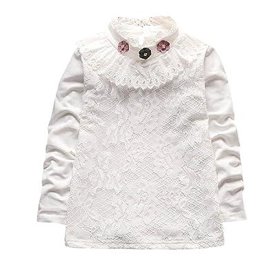 Smileq T-shirt à manches longues Princesse pour vêtements de bébé Dentelle T-shirt chaud chemisiers