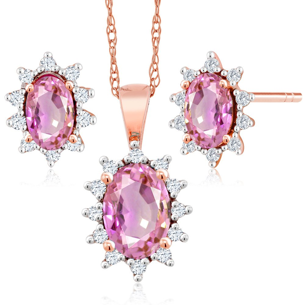 18K Rose Gold 1.31 Ct Oval Pink Sapphire and Diamond Pendant Earrings Set