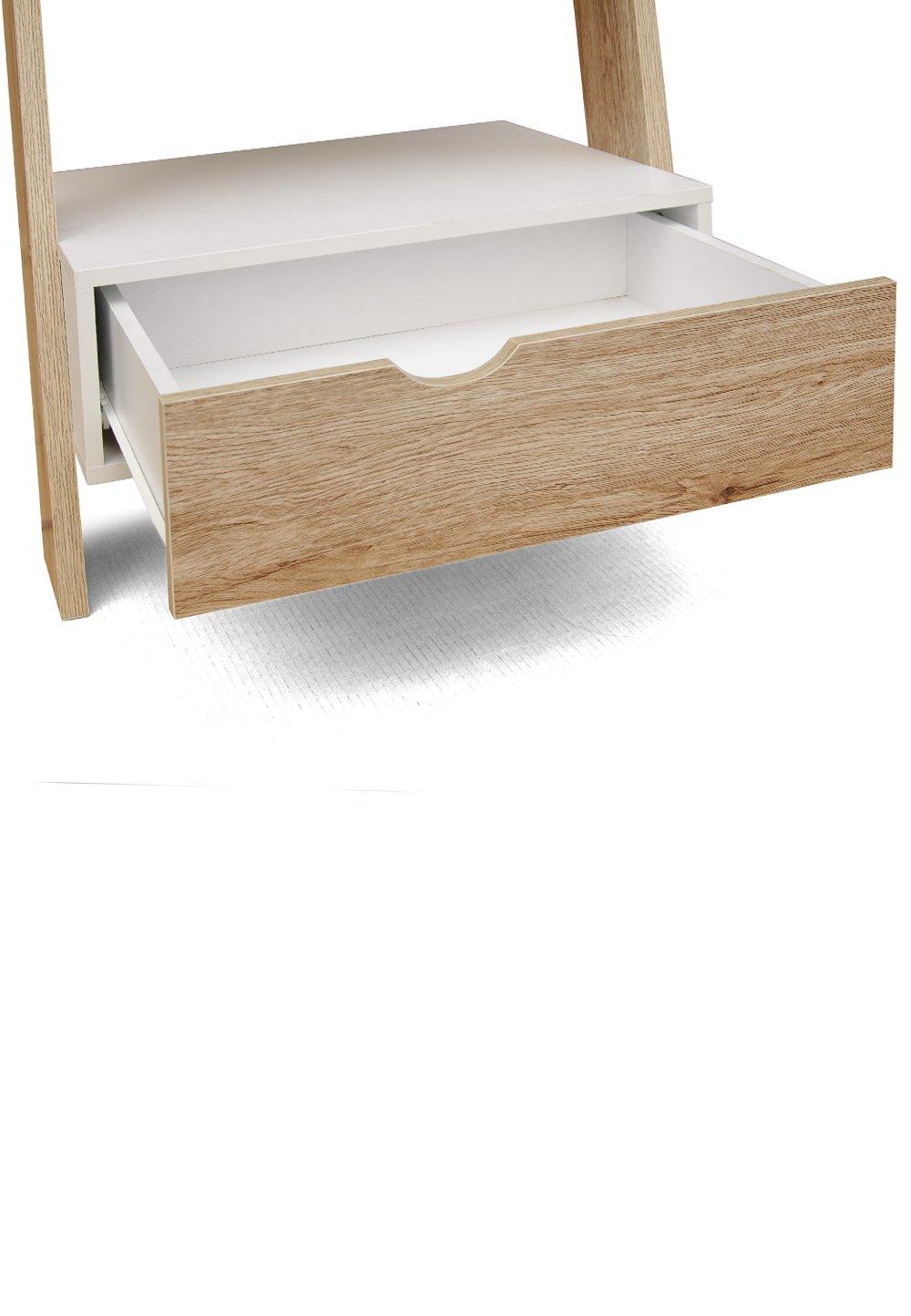 Cribel Nature Étagère en bois - blanc-chêne naturel - 65 x 45 x 176 -4 cm