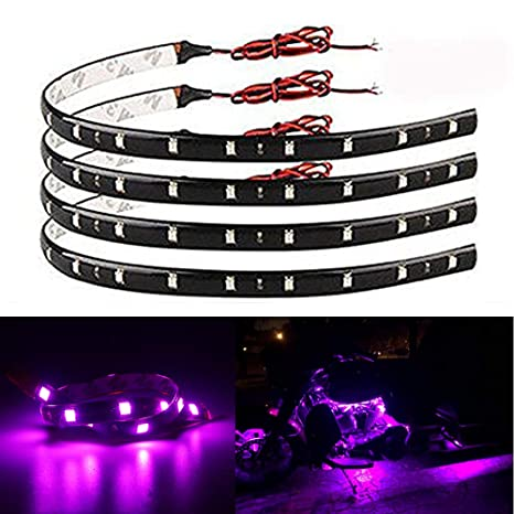 Everbright 4 Pack Pink Led Strip Lights For Cars 30cm 5050 12 Smd Waterproof Car Underglow Lights Motorcycles Golf Cart Decoration Led Interior
