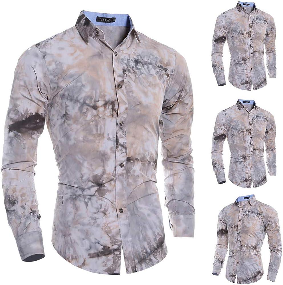 MXJEEIO - Camisa Hombre, otoño Gran tamaño Manga Larga botón de impresión de Moda Retro Suelto Camisas Blusa Superior Informal, Slim Fit, Camisa Elástica Casual/Formal para Hombre Cheap Clearance: Amazon.es: Ropa y