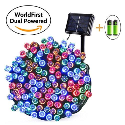 Qedertek 200 LED Christmas Solar/Battery Powered String Lights (Multicolor), 1PACK