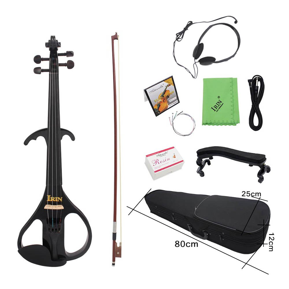 ammoon 4/4 Full Size Electric Violin Fiddle Maple Wood Stringed Instrument Ebony Fretboard Chin Rest with 1/4