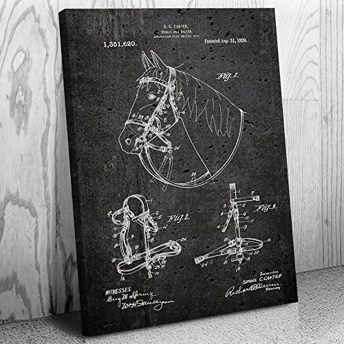 Patent Earth Horse Bridle & Halter Canvas Print, Equestrian Gift, Horse Lover, Kentucky Derby, Country Club, Horse Rider, Race Jockey Dark Concrete (16