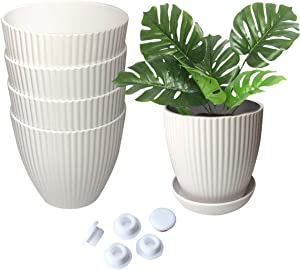 """ANDRIMAX Plastic Planters Indoor Set of 5 Flower Plant Pots Modern Decorative Gardening Container with Drainage and Saucer for Succulents, Herbs, Foliage Plant, and Seeding Nursery, Cream White, 6"""""""