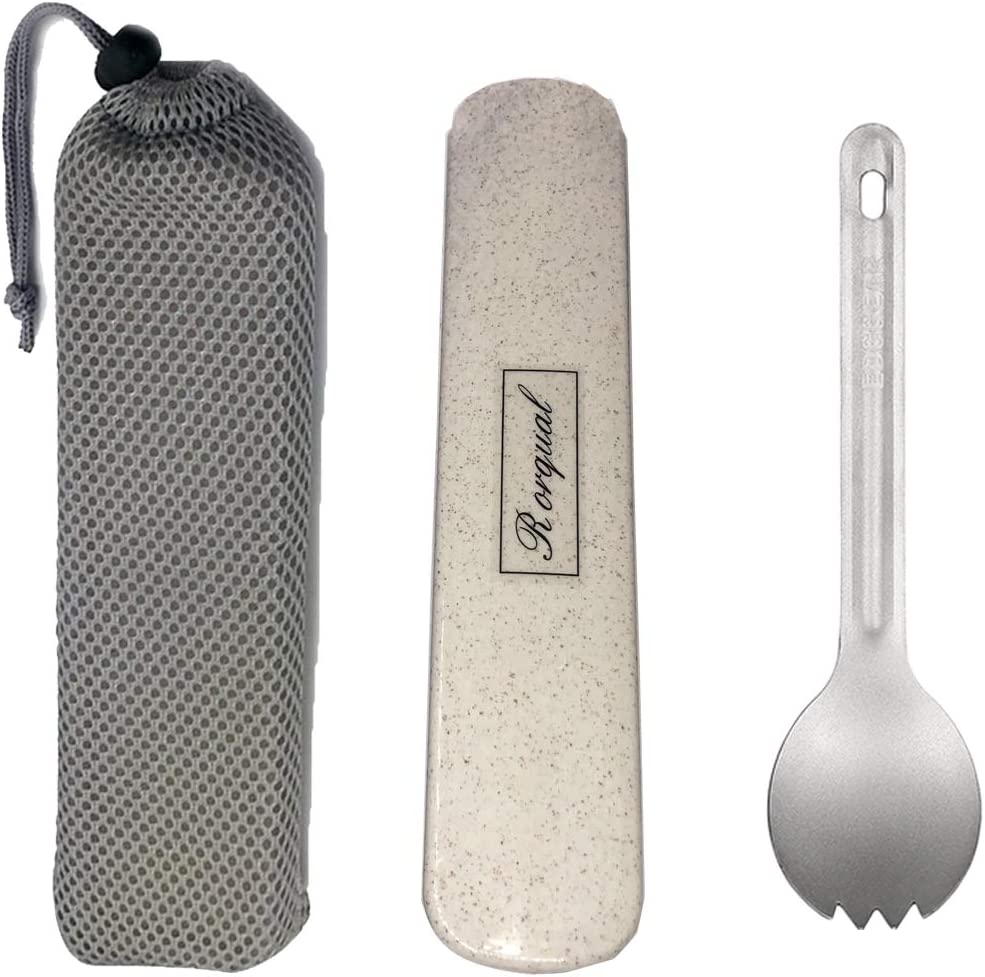 Healthy /& Eco-Friendly Spoon for Travel//Camping with Case and Bag /… Rorqual 2 in 1 Titanium Ultralight Spoon