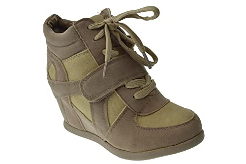 Sammy 6k Little Girls Lace Up High Top Wedge Sneakers Beige