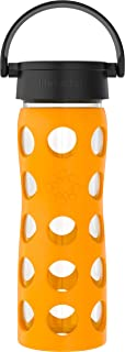 product image for Lifefactory 16-Ounce BPA-Free Glass Water Bottle with Classic Cap and Protective Silicone Sleeve, Marigold