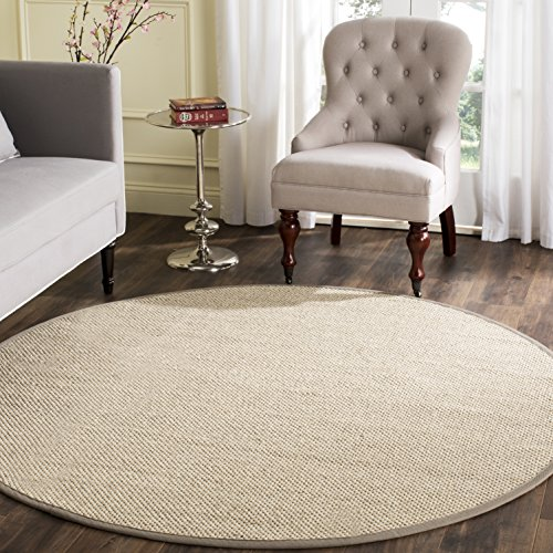 Safavieh Natural Fiber Collection NF143E Marble and Khaki Sisal Round Area Rug (10' Diameter) - 10' Round Area Rug