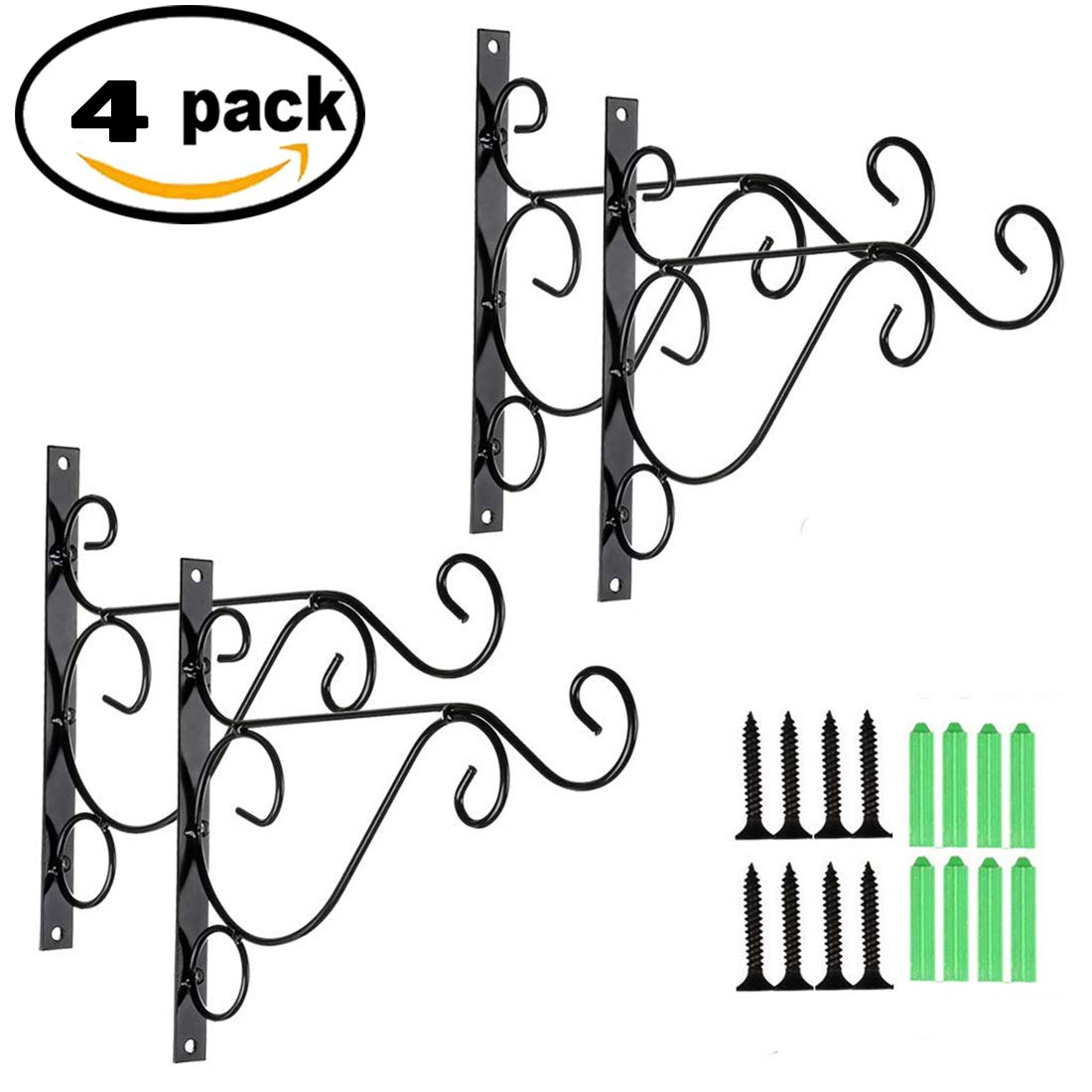 Originalidad 4 Pack 10'' Metal Hanging Basket Plant Hook Hangers, Plant/Wind Chime Wrought Iron Hanger Brackets for Hanging Basket Bracket/Hooks, Plant/Flower Hooks Hangers Brackets, Planter Hooks