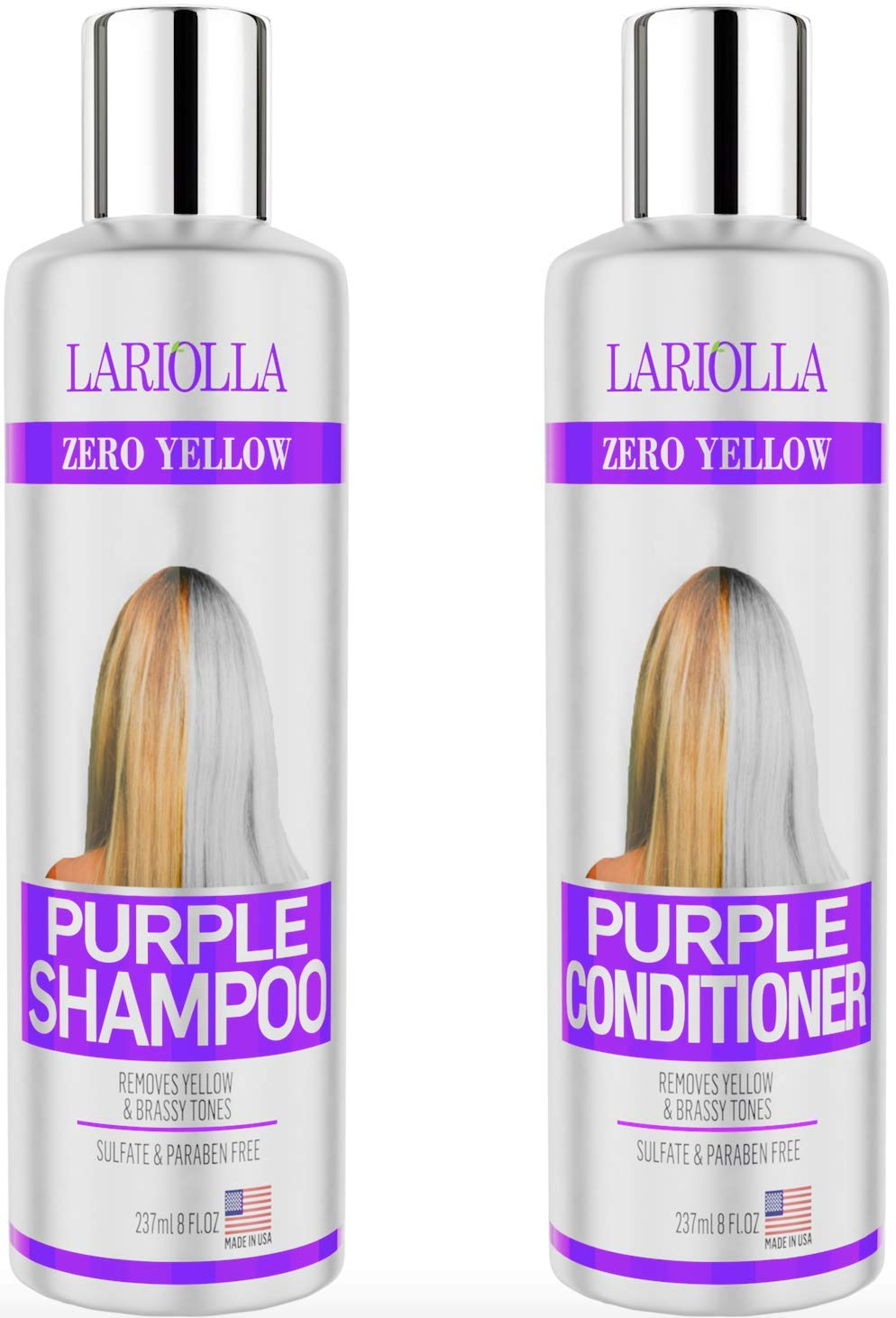 (2-PACK) Best Purple Shampoo and Conditioner for Blonde Hair - Blonde Shampoo for Silver & Violet Tones - Instantly Eliminate Brassiness & Yellows - Bleached & Highlighted Hair - Made in USA - 8oz by Lariolla