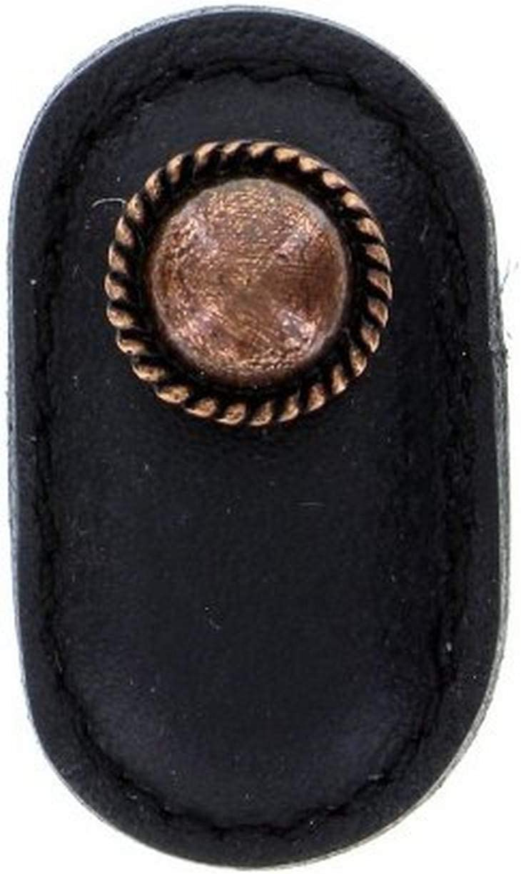 Large Satin Nickel Vicenza Designs K1173 Equestre Leather Knob Black