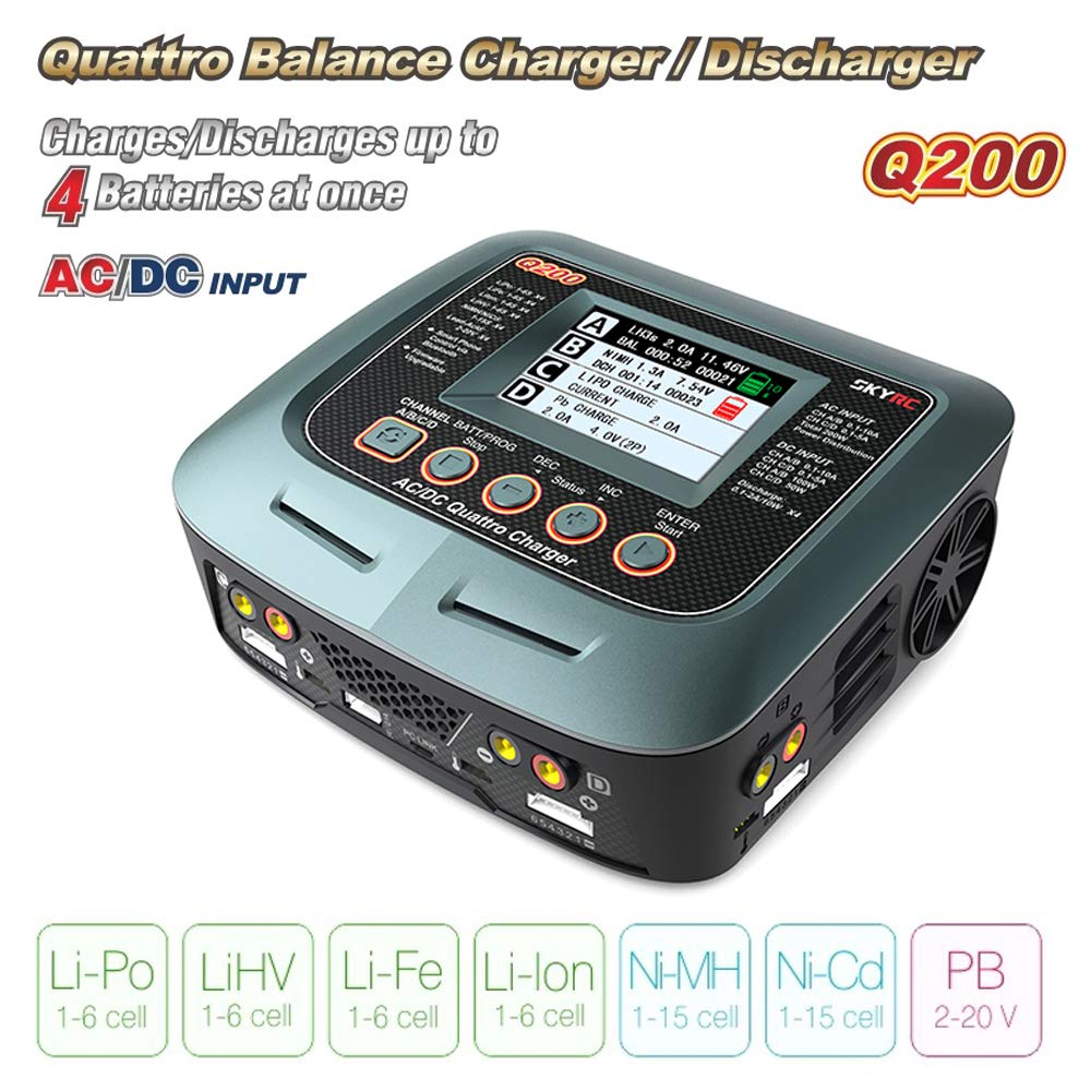 SkyRC Q200 Quattro RC Lipo Battery smart Balance Charger/Discharger With LCD Display for 1-6s LiHV/Li-Fe/Li-lon/NiMH/NiCD
