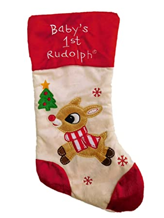 1f629c2ad0d Amazon.com  Rudolph Ivory Snowflake Babys 1st Christmas Stocking ...
