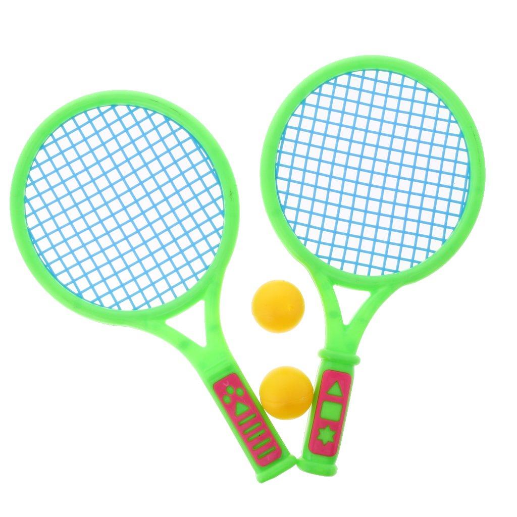 MagiDeal Bambini 2 Pezzi di Racchette da Tennis + 2 Pezzi di Palline di Plastica Set Di Badminton All'aperto Sulla Spiaggia Sport Giocattoli - Multicolore, medio
