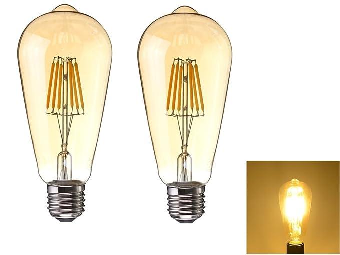 2 Piezas Bombilla Decorativa LED con Filamento,ST64 E27 6 W Edison Bombillas ,equivalente