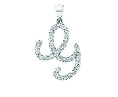 10K White Gold Diamond Cursive Letter G Necklace Pendant