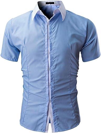 STRIR Camisetas Hombre Originales Manga Polos Personalidad Negocio Camisas: Amazon.es: Ropa y accesorios