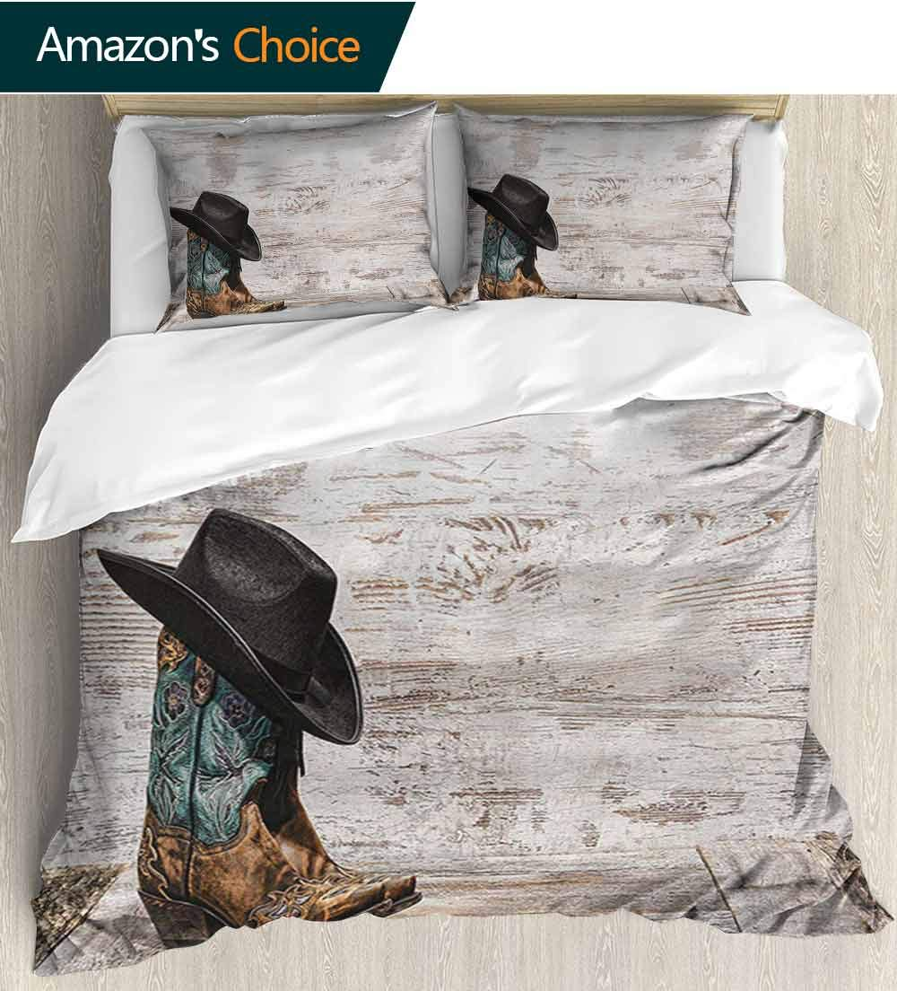 Western Bedspread Set Queen Size, Traditional Rodeo Cowboy Hat and Cowgirl Boots Retro Grunge Background Art Photo Print, Decorative Quilted 3 Piece Coverlet Set with 2 Pillow Shams,(68''W x 85''L)