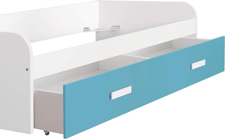 x 98 x 201 Fondo Color Blanco Medidas: 54 Alto Azul Turquesa Ancho Venprodin Cama Nido Juvenil de 90x190 con Caj/ón
