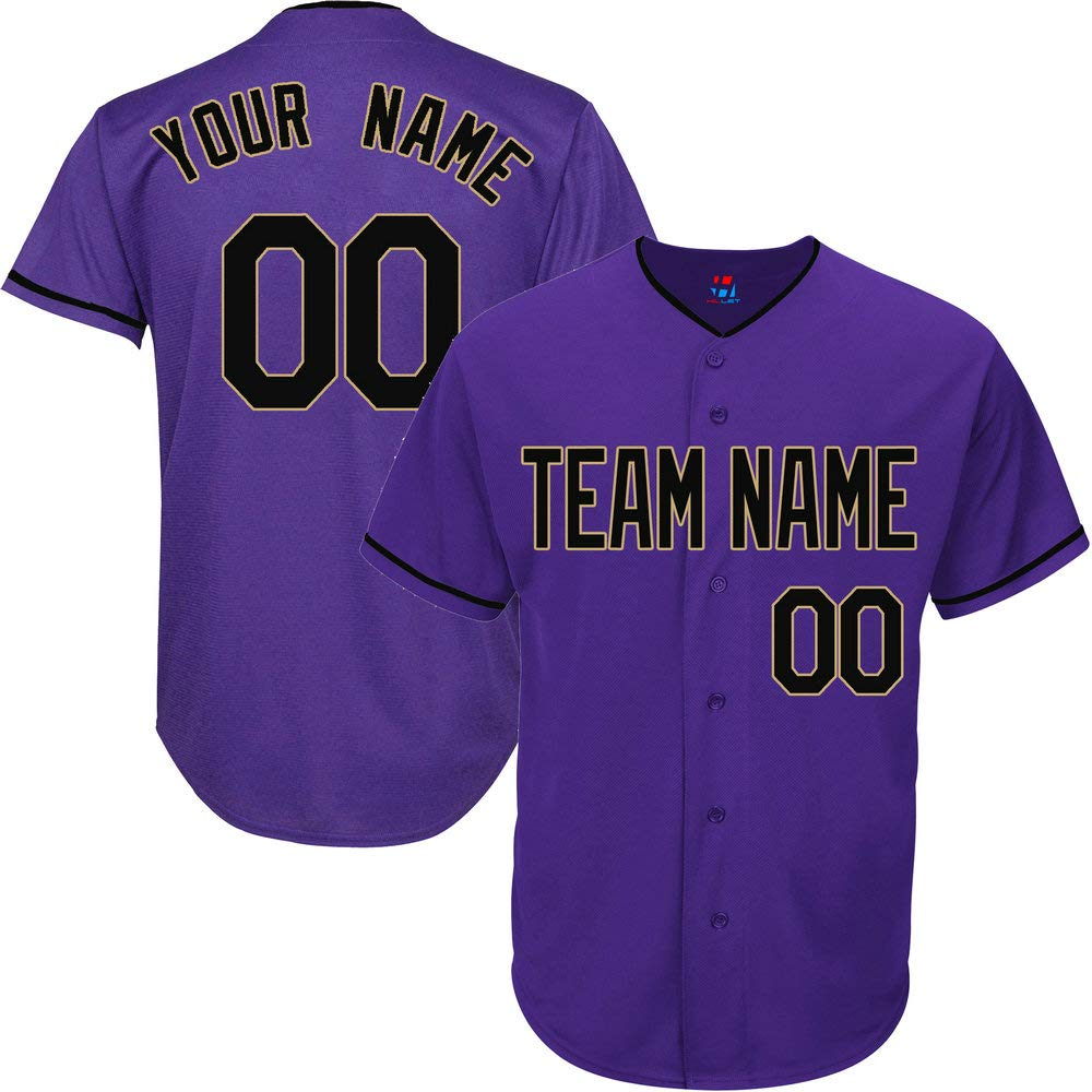 Purple Customized Baseball Jersey for Women Throwback Stitched Team Player Name & Numbers,Black-Gold Size S by Pullonsy