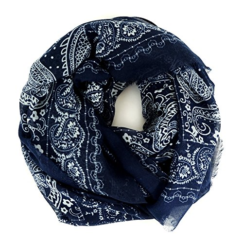 Scarves for Women: Lightweight Cute Bird Floral Fashion shawl by MIMOSITO (Blue White Bandana)