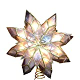 Kurt Adler 9-Inch Capiz Star Tree Topper with 10 Clear Lights and 1 Spare Bulb