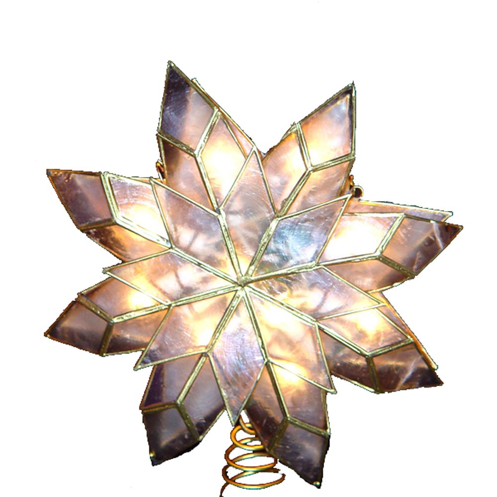 Amazon: Kurt Adler 9inch Capiz Star Tree Topper With 10 Clear Lights  And 1 Spare Bulb: Home & Kitchen