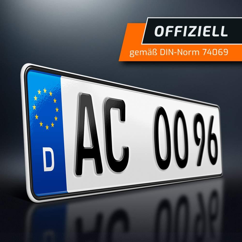 schildEVO 1 Kfz Kennzeichen individuelle Wunschkennzeichen Nummerntafel Kurze PKW Nummernschilder DHL-Versand 480 x 110 mm Autokennzeichen Autoschilder DIN-Zertifiziert
