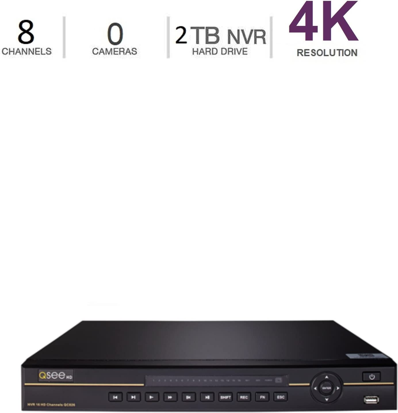 Q-See 4K 8MP 8-Channel NVR Ultra HD QC IP Series Surveillance with H.265 and Expandable 2TB HDD (QCK81-2)