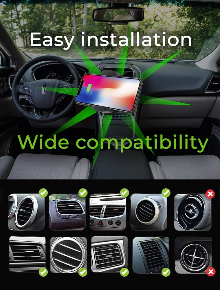 Dashboard Mount /& Air Vent Mount//Compatible with iPhone Xs//Xs Max//XR//X //8//8 Plus,Samsung Galaxy Note 8//9//S9// S9+// S8// S8//Uber Drivers Perfect Wireless Cell Phone Car Charger Holder//Windshield Mount
