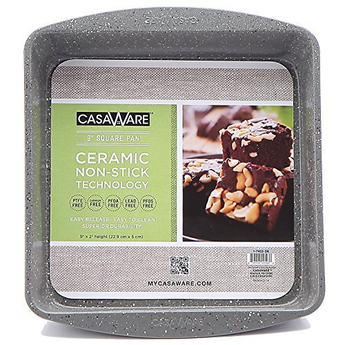 casaWare Ceramic Coated NonStick 9-Inch Square Pan (Silver Granite)