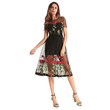 Kleid der Frau Frauen A-Linie Kleider Netto Garn Perspektive Rose ...