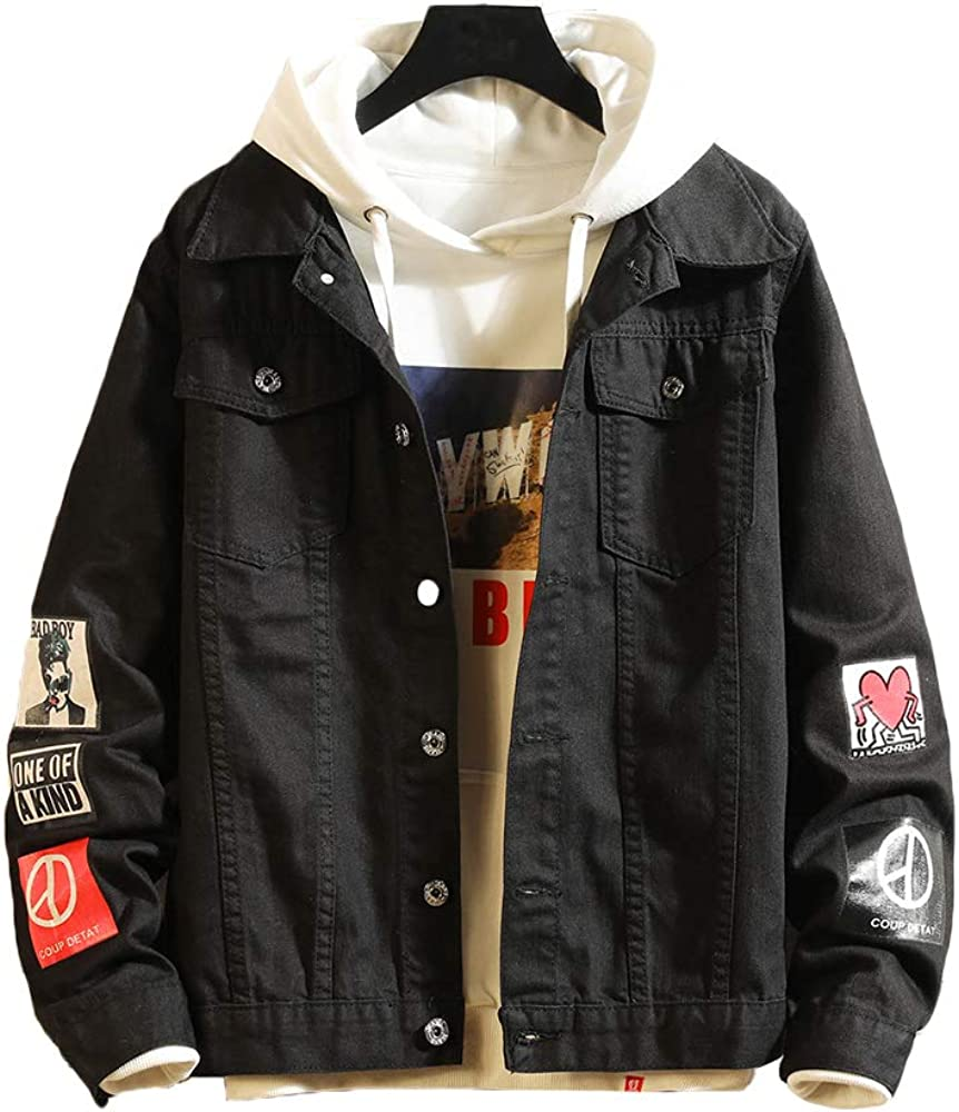 16c0b9ff5f7c Lavnis Men's Denim Distressed Jacket Casual Button Down Trucker Jacket Jean  Coat Black S