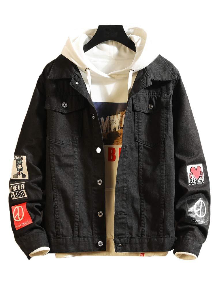 Lavnis Men's Denim Distressed Jacket Casual Button Down Trucker Jacket Jean Coat Black L by Lavnis
