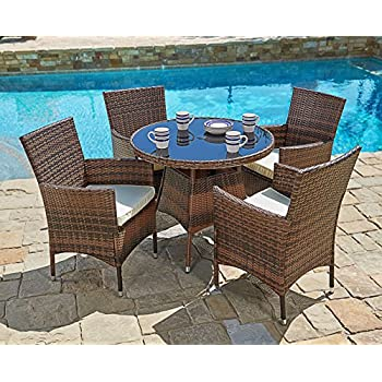 Amazoncom Malibu Patio Furniture Outdoor Wicker Patio Dining Set