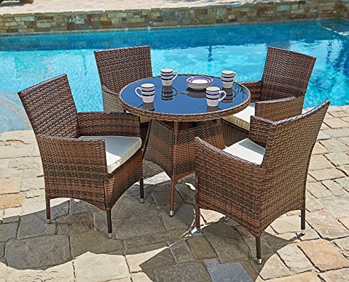 Round Dining Tables Chairs - Suncrown Outdoor Furniture All-Weather Wicker Round Dining Table and Chairs (5-Piece Set) Washable Cushions | Patio, Backyard, Porch, Garden, Poolside | Tempered Glass Tabletop | Modern Design