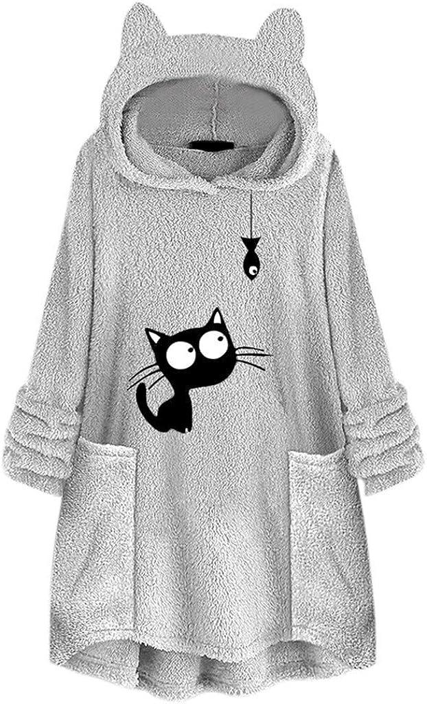 #03 Gray,XXL SOMESHINE Womens Fuzzy Fleece Hooded Jacket Coats Faux Fluffy Sherpa Fleece Sweatshirt Warm Pullover Outwear with Pockets