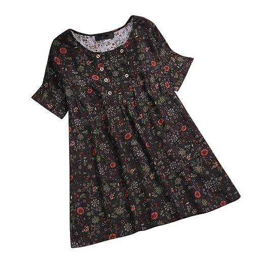 5dd97abe3 Womens Plus Size Blouse, Duseedik Floral Printed O-Neck Short Sleeve Casual  Vintage Shirts