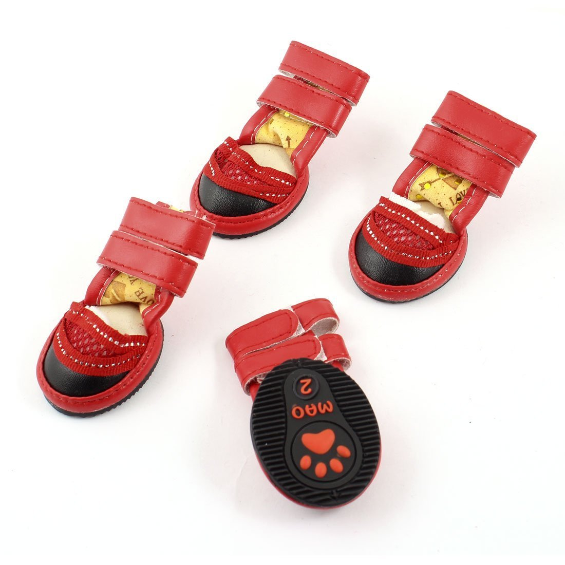 1Pc Pet Puppy Drawstring Closure Non Slip Sole shoes Booties S 2 Pairs Red