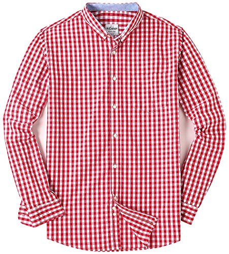 Men's Long Sleeve Plaid Button Down Casual Dress Shirts Red XX-Large (Shirt Plaid Sport Pocket)