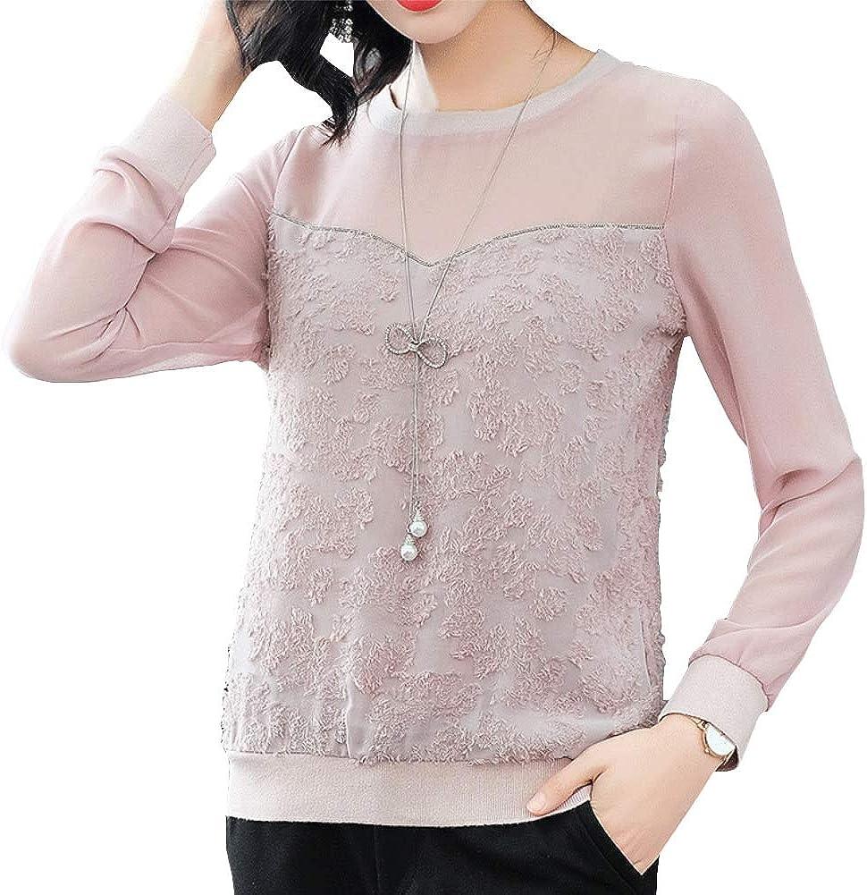 E-Girl E1918093A - Blusa de Manga Larga con Cuello Redondo a Granel, Talla Grande Rosa 36 EU S: Amazon.es: Ropa y accesorios