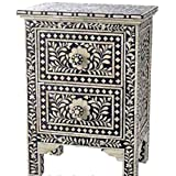 Floral Bone Inlay 2 Drawer Side Table Handmade Inlay Furniture