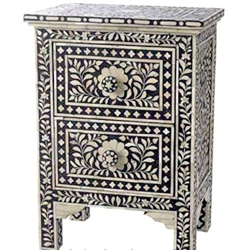 Floral Bone Inlay 2 Drawer Side Table Handmade Inlay Furniture Floral Nesting Table