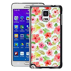 A-type Arte & diseño plástico duro Fundas Cover Cubre Hard Case Cover para Samsung Galaxy Note 4 (Floral Design Pattern Flowers Fabric)
