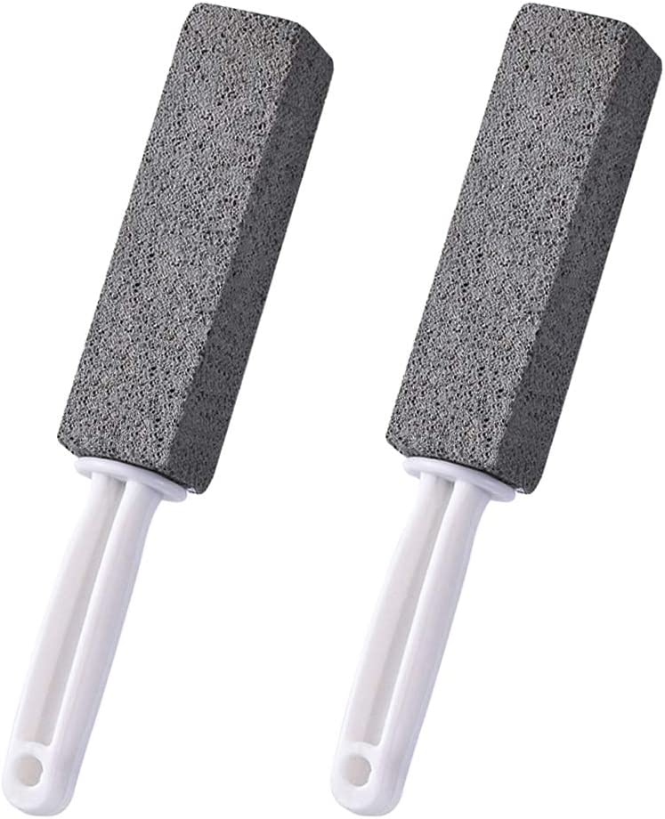 2 Pack Pumice Cleaning Stone with Handle, Toilet Bowl Cleaner Stains and Hard Water Ring Remover Rust Grill Griddle Cleaner for Kitchen/Bath/Pool/Household Cleaning