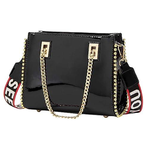 9d9b678b7cab Amazon.com: Rakkiss Women Crossbody Bag Fashion Patent Handbag Solid ...